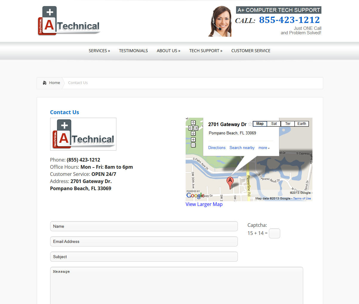 Business contact page - designed with google maps