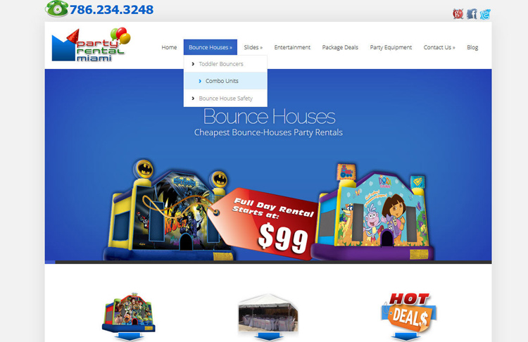Party Rentals Web Design